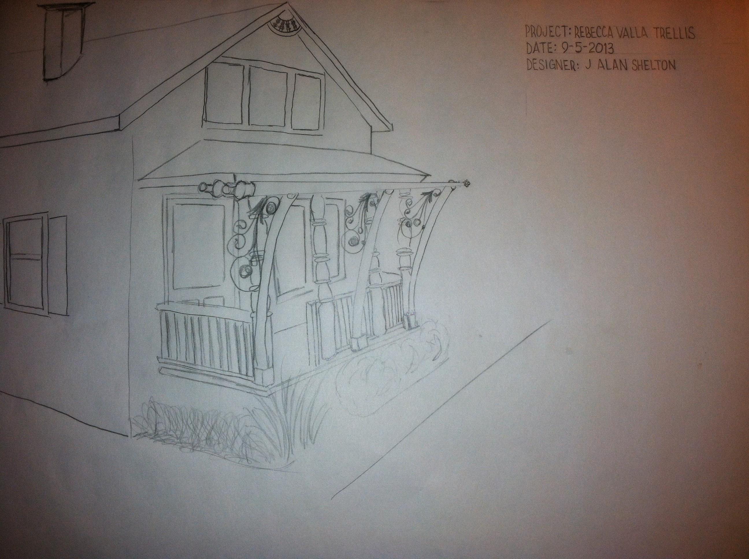 Wrought Iron and steel tubing garden trellis design